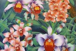 Orchid in Batik Painting and Textile Art